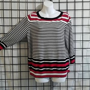 Joseph A. Red Black and White Pullover Sweater